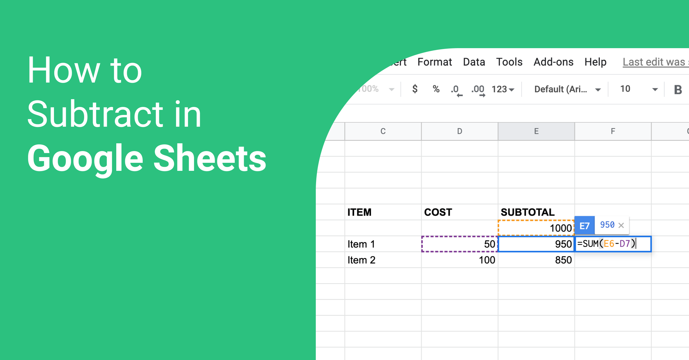 How to Subtract in Google Sheet visual tutorial   Blog   Whatagraph