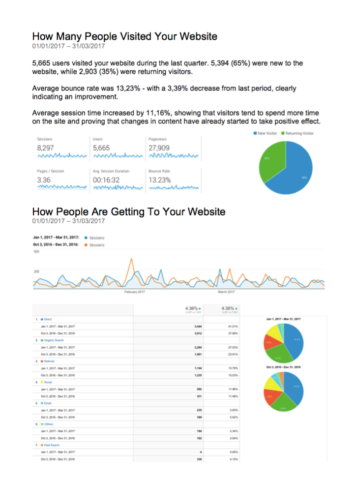 Website report example for clients