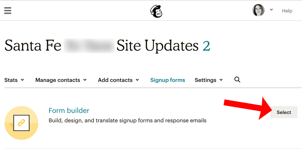 Mailchimp confirmation page setup Step 1