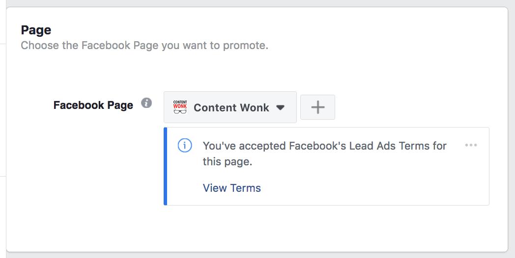 Create Facebook lead gen ad 3