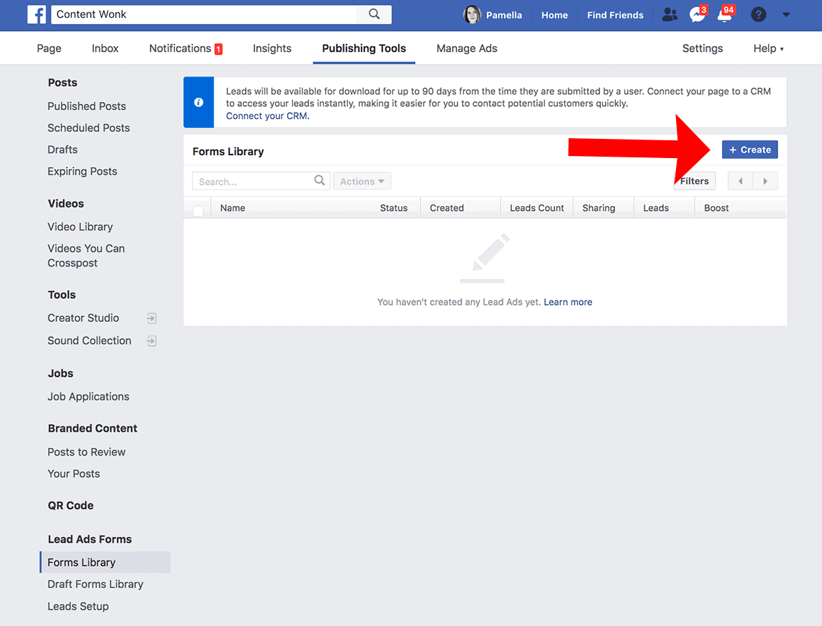 How to create Facebook lead generation ads - step 2