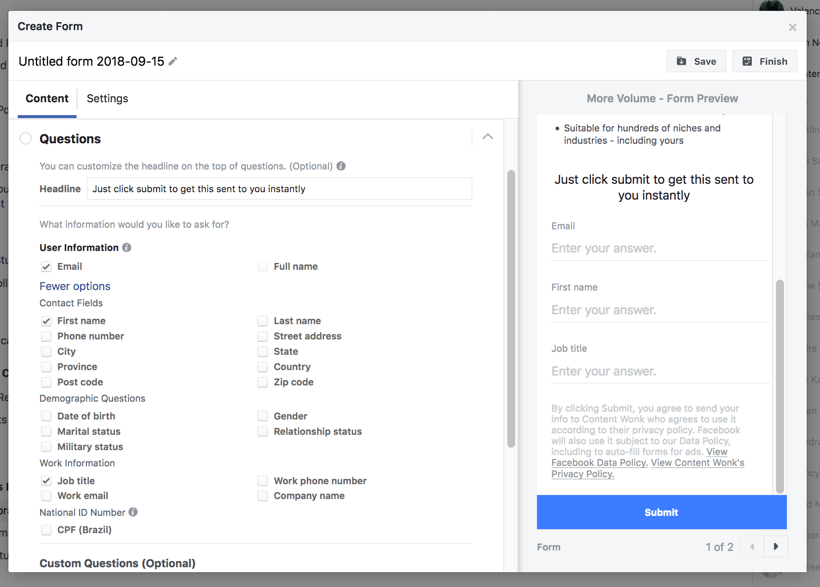 How to set up Facebook lead generation ads - step 6