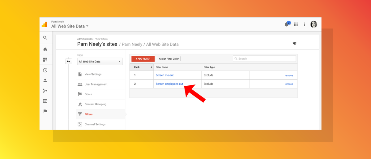 Google Analytics filters view