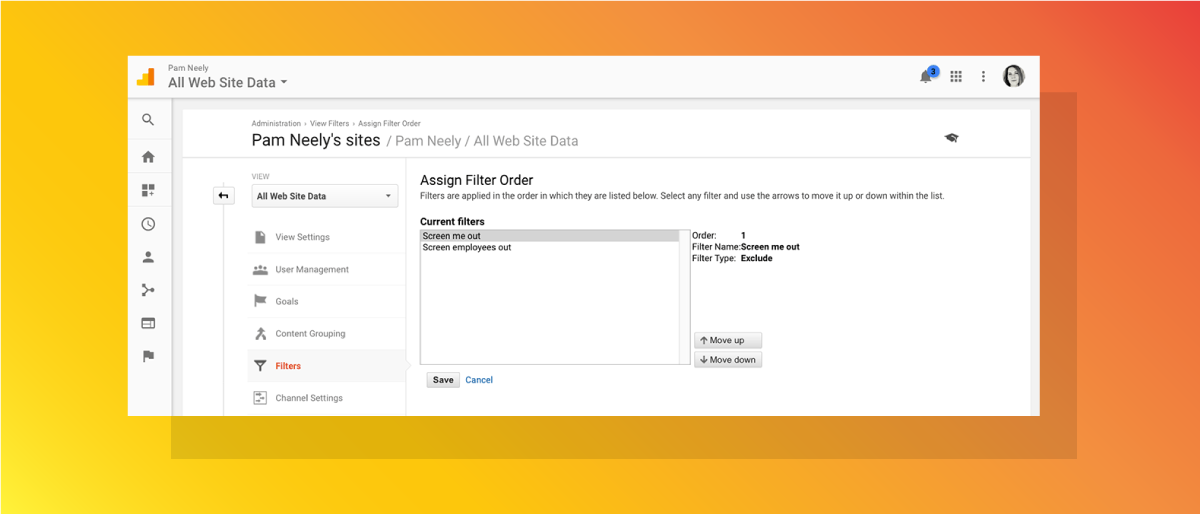 Google Analytics Assign Filter Order page