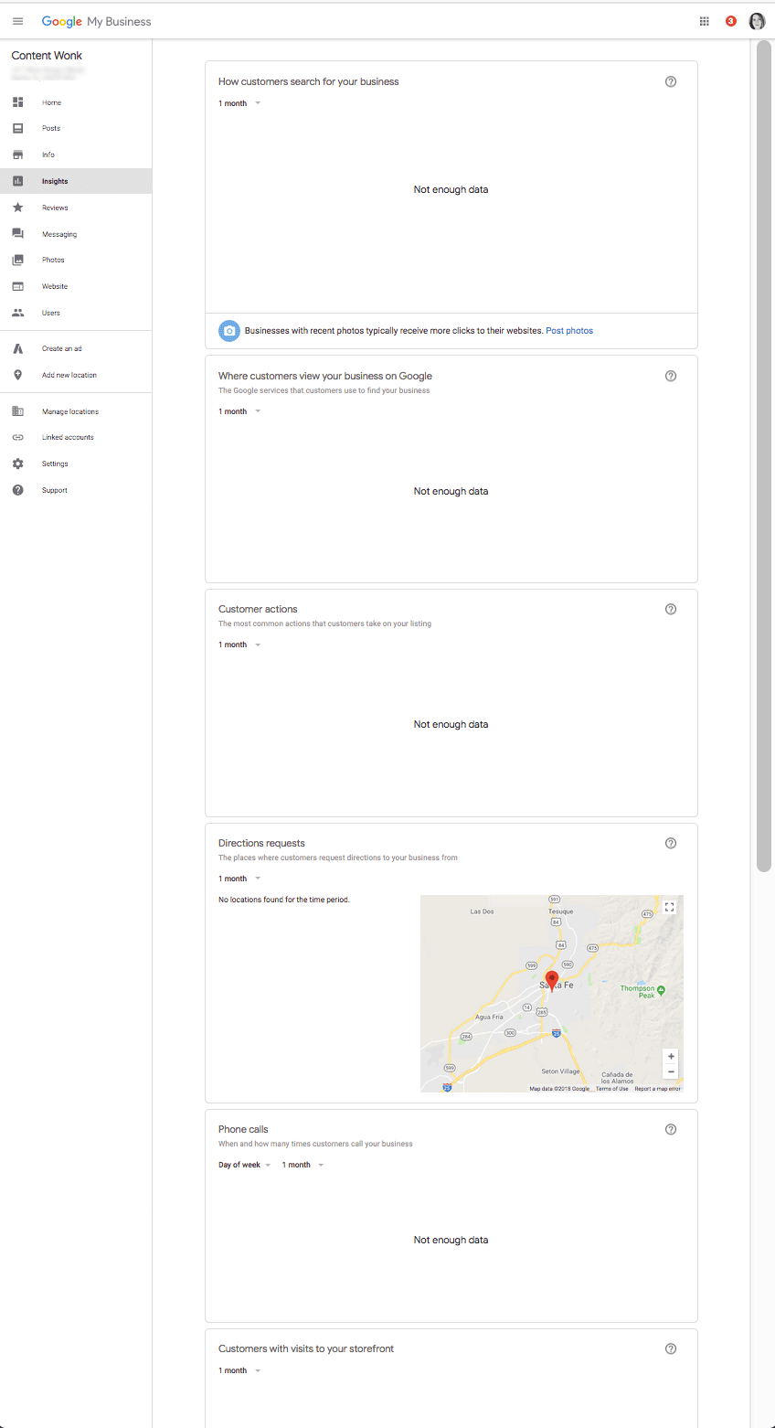 Google My Business Insights report