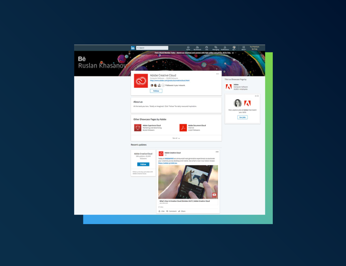 Adobe LinkedIn Showcase page