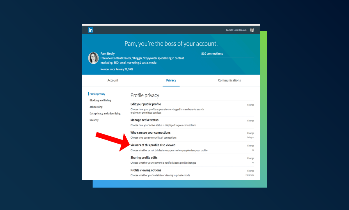 How to stop LinkedIn from showing competitors in 'people also viewed' tab - privacy settings