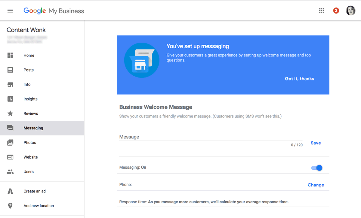 Messaging set up in Google My Business