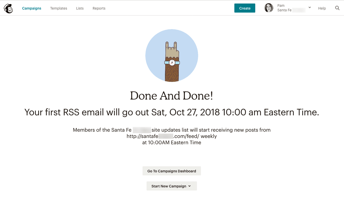 Mailchimp RSS to email Step 10