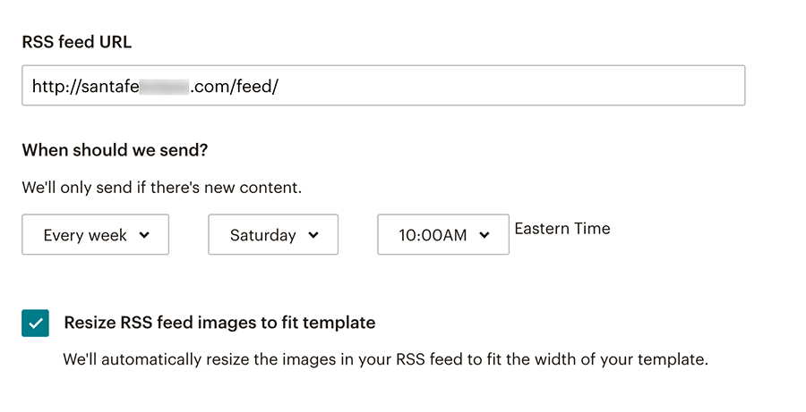 Mailchimp RSS to email Step 3
