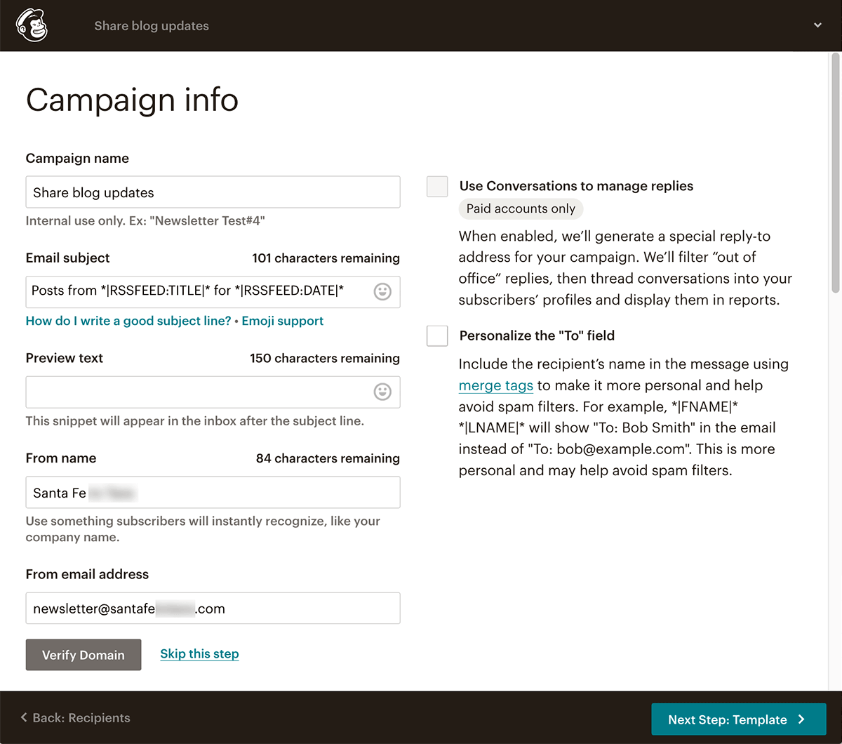 Mailchimp RSS to email Step 5