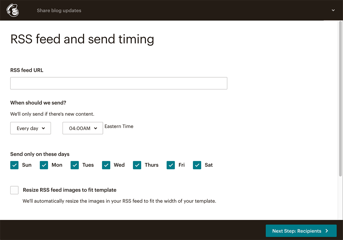 Mailchimp RSS to email Step 2