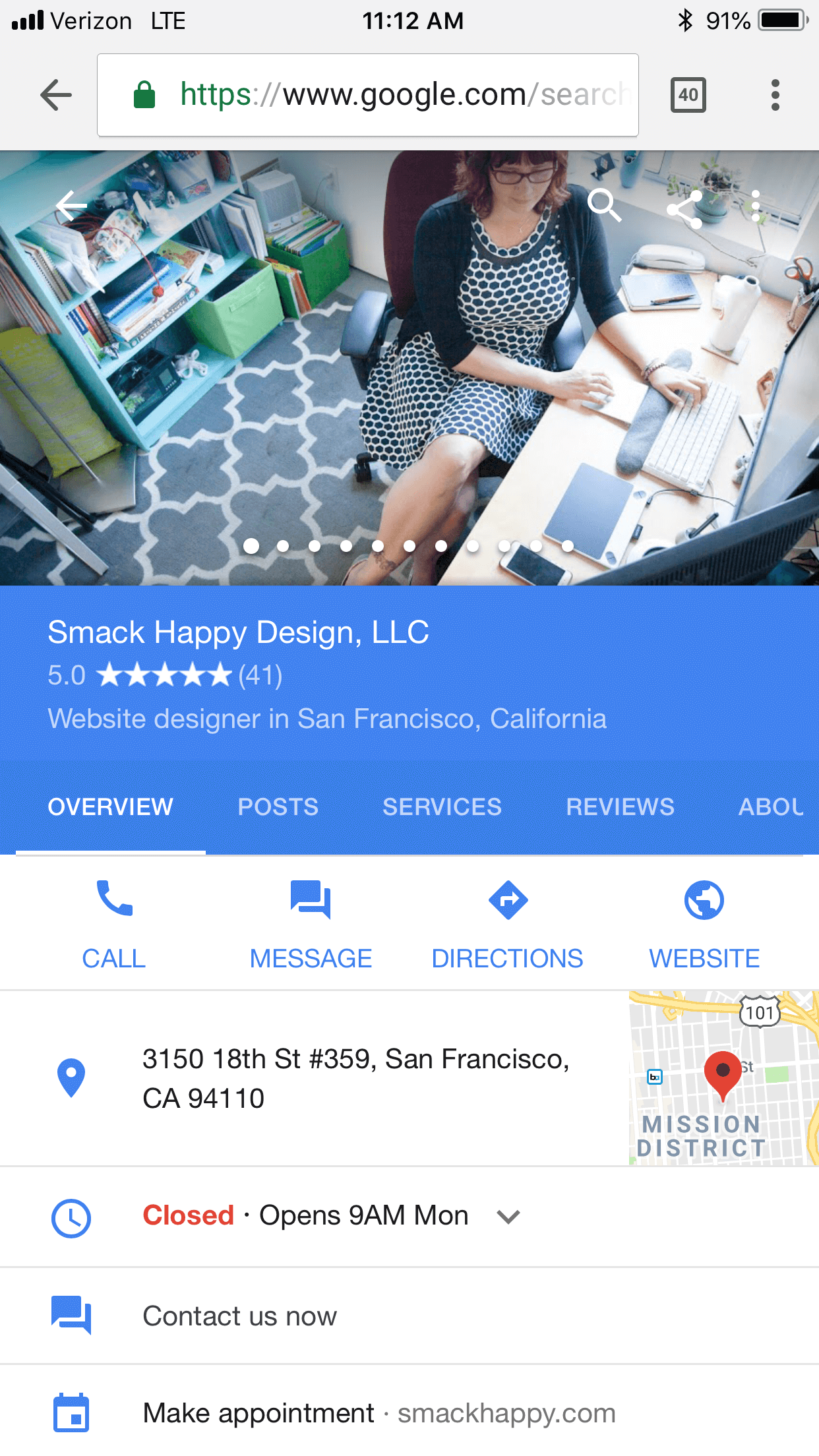Google My Business messaging services