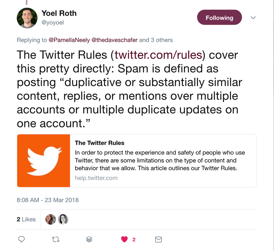 What is considered spam in the new Twitter rules?