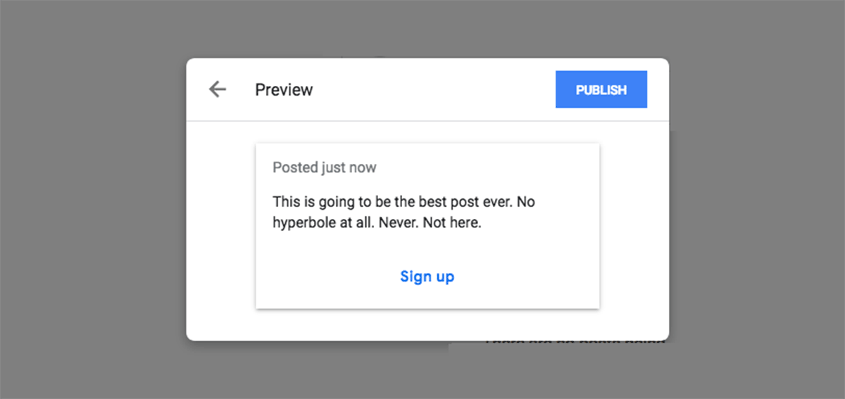 An example of a sign up post in Google My Business