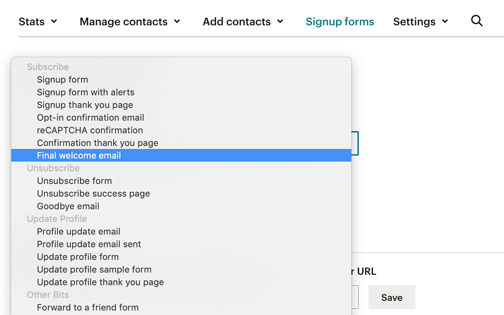 Mailchimp welcome email setup Step 1