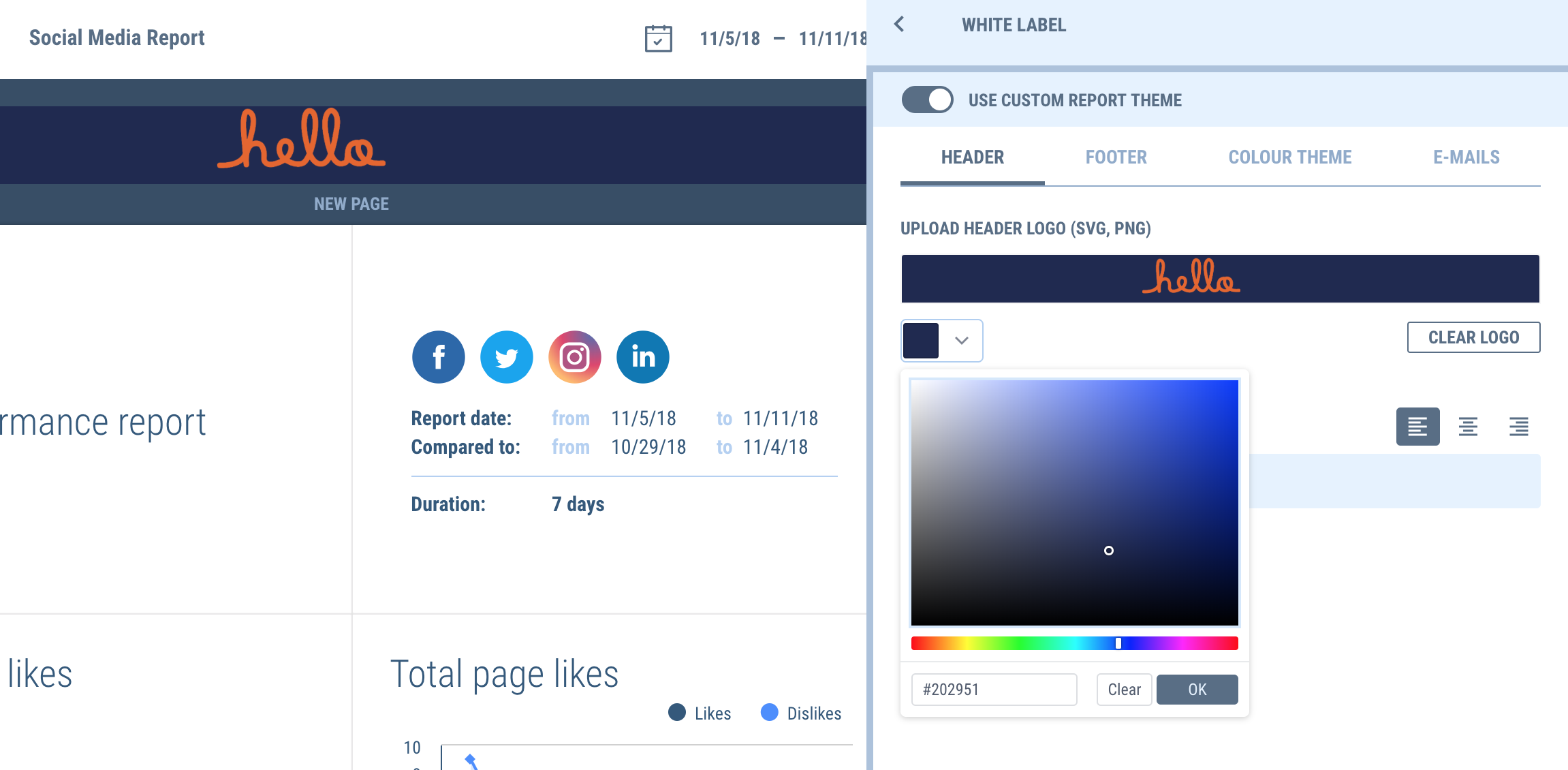 Add custom color scheme to your marketing report header