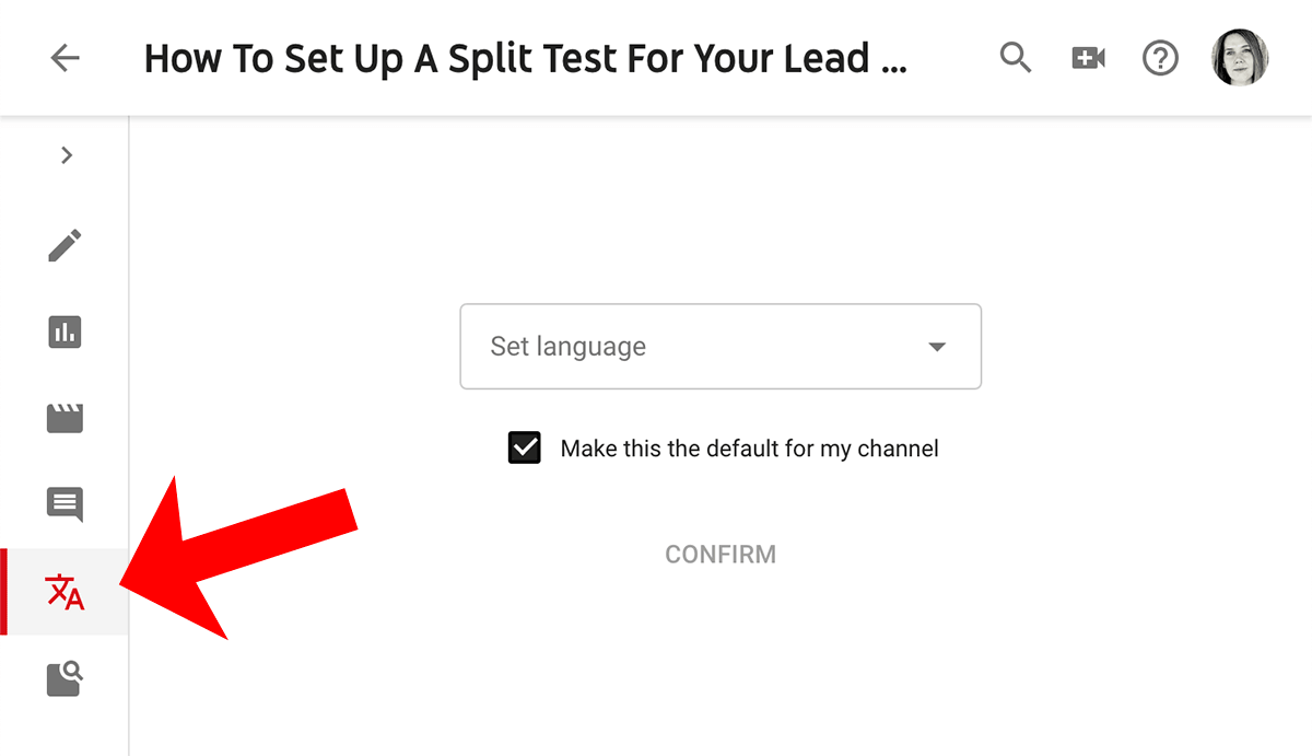 How to edit a transcript on YouTube - step 1