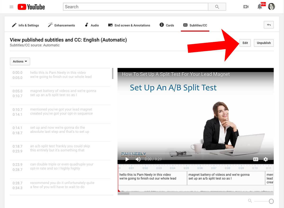 How to edit a transcript on YouTube - step 3