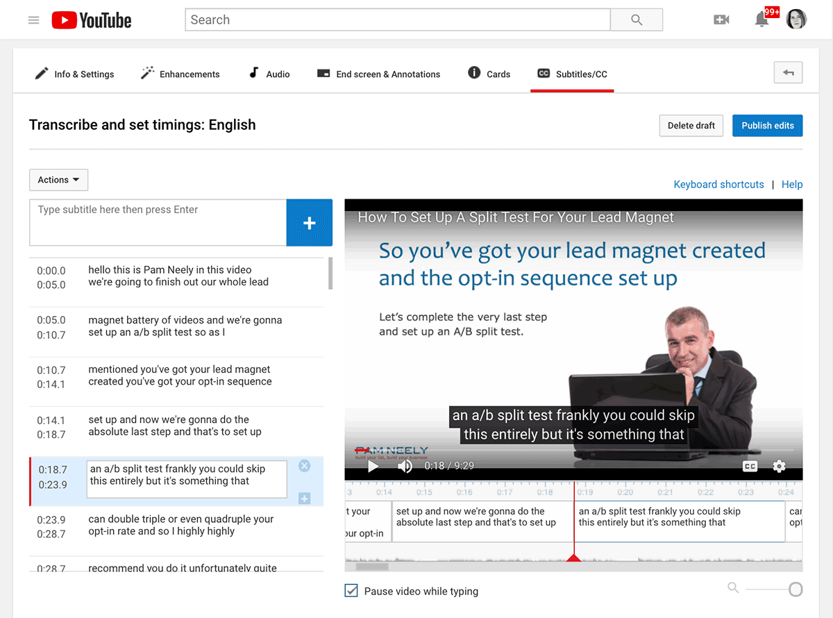 How to edit a transcript on YouTube - step 4