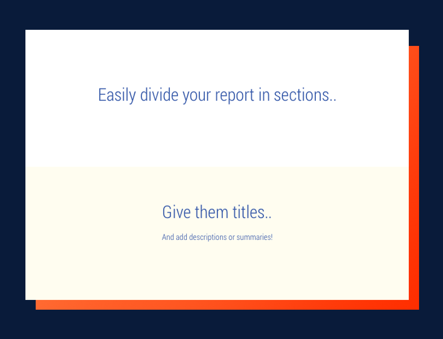 Marketing report sections with titles