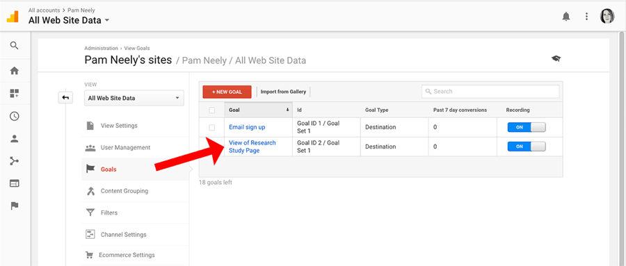 How to create goals in Google Analytics - success