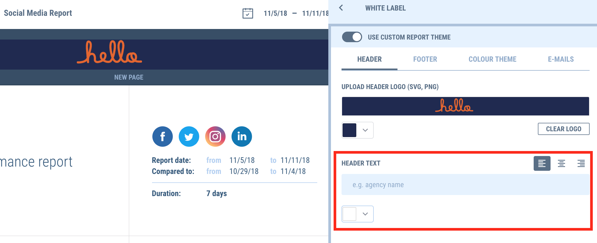 Add custom text to your report footer with the new white label update