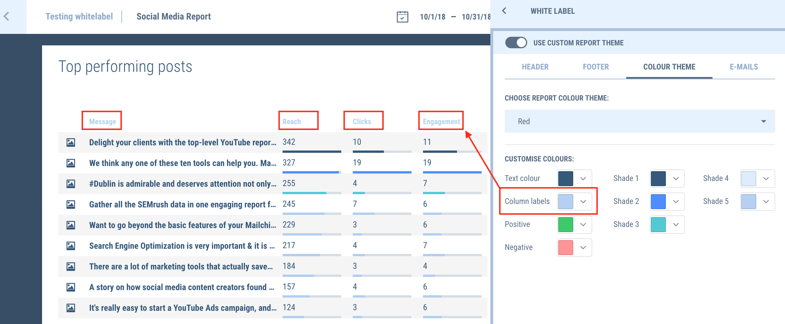 Change the colors column labels in your marketing reports